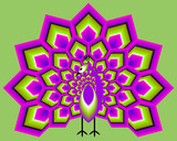 Green and purple peacock in techno style. Optical expansion illusion. - 141891254