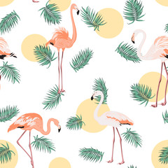 Green tropical jungle palm tree leaves. Exotic flamingo birds. Yellow orange sun moon round circle dot. Seamless pattern texture on white background.