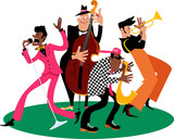 Jazz band performing, EPS 8 vector illustration