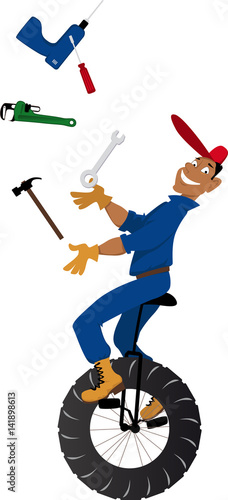 Auto mechanic in overalls riding a unicycle and juggling tools, EPS 8 vector illustration