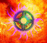 ornamental mandala on abstract structured background with graphic effect.
