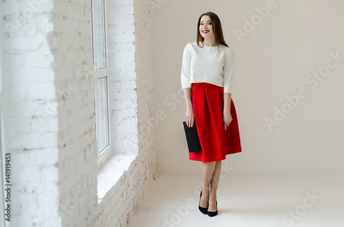 Plakat Young attractive smiling woman's portrait, spring fashion