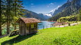 Breathtaking sunrise at Gosausee lake in Gosau, Alps, Austria, Europe