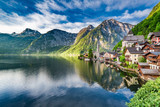 Wonderful dawn at mountain lake in Hallstatt, Alps, Austria, Europe - 141922416