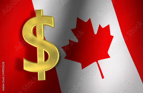 Papiers peints Canada Canadian Dollar Symbol And Canada Flag