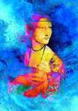 Graphic effect collage of my reproduction of painting Lady with an Ermine by Leonardo da Vinci. Cosmic background.