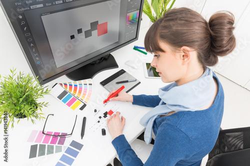 Poster Graphic designer at work. Color samples.
