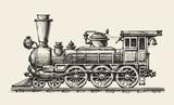 Vintage locomotive. Hand-drawn retro train. Sketch, vector illustration