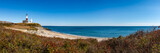 Panoramic view on Montauk Point State Park Lighthouse and the Atlantic Ocean. Long Island, New York State - 141973430