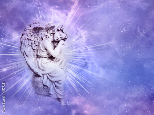 angel archangel with rays of Light over purple background  - 141977281