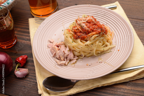 fettuccine dish with sauce with tuna and red pepper