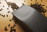 Fototapety Black coffee package closeup