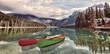 Emerald Lake Reflections - Kayaks on Emerald Lake, Yoho National Park, Canadian Rockies.