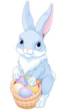 Easter Bunny with a Basket Full of Easter Eggs