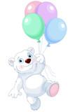 Polar Bear Flying With Balloons