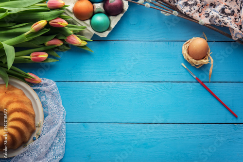 Wooden easter background with blank space for text - 142018672