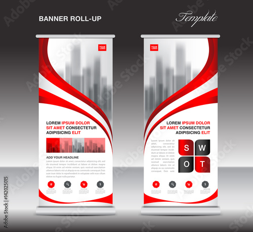 Red Roll up banner, stand template, poster, display, advertisement, banner design, vector