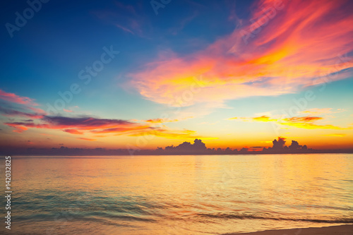 Calm sunset over ocean on Maldives Poster
