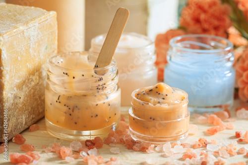 Variety of creams and bath salt - spa concept