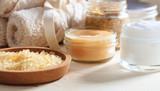 Variety of creams and bath salt - spa concept - 142043848