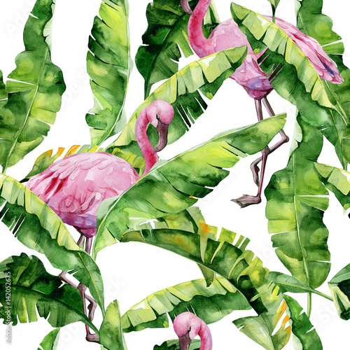 Tropical leaves, dense jungle. Banana palm leaves Seamless watercolor illustration of tropical pink flamingo birds. Trendy pattern with tropic summertime motif. Exotic Hawaii art background.  - 142052675