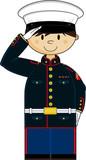 Cute Cartoon Saluting US Marine Soldier - 142054214