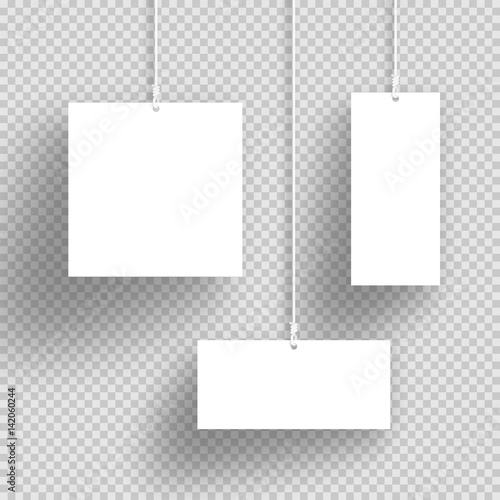 Vector 3d White Hanging Frames With Transparent Shadows | Buy Photos ...