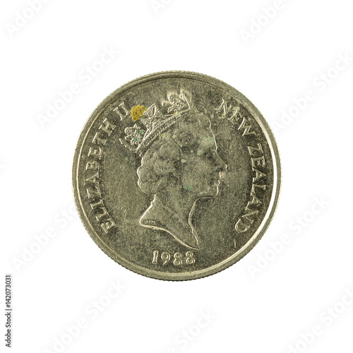 Poster 5 new zealand cent coin (1988) reverse isolated on white background