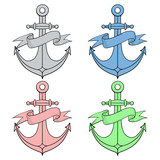 Anchor with ribbon banner. Colored icons