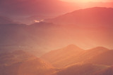 View of the top on fantastic sunlight of beautiful scenery mountain range at sunrise. Abstract nature concept.