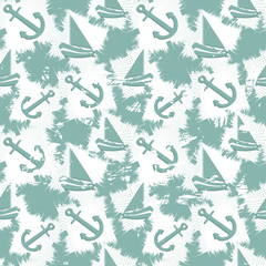 Grunge seamless pattern with boats and anchors. Vector