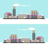Set of industrial buildings. Vector illustration.