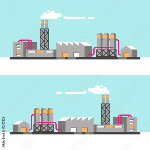 Aluminium Lichtblauw Set of industrial buildings. Vector illustration.