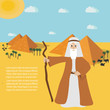 Moses from Passover story and Egypt landscape . vector illustration.  Place for text.