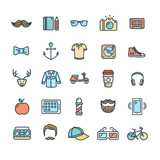 Hipster Icon Color Thin Line Set. Vector