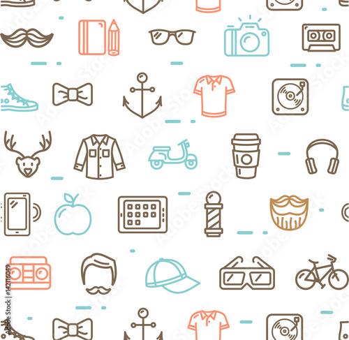 Fotobehang Hipster Hert Hipster Pattern Background. Vector