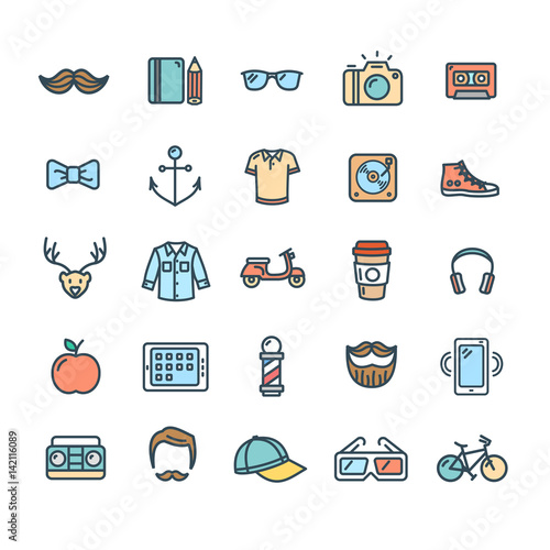 Aluminium Hipster Hert Hipster Icon Color Thin Line Set. Vector