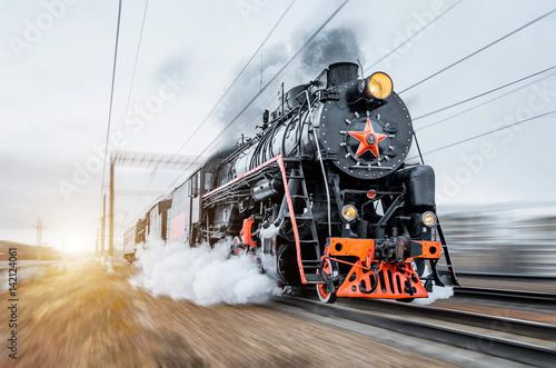 Rocznik czerni parowej lokomotywy pociągu pośpiechu kolej