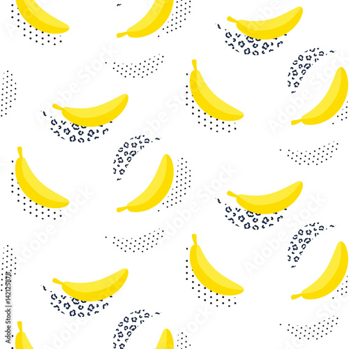 Fototapeta  Banana pop art seamless vector pattern on white. Summer fruit repeat background.