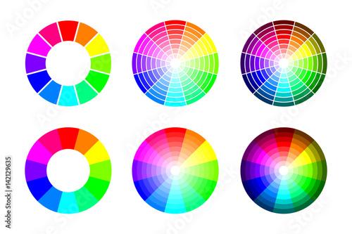 Koloru koło od 12 kolorów rgb, wektorowy ustawiający na białym tle