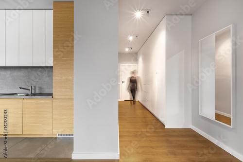 Foto op Plexiglas Trappen Long modern hallway