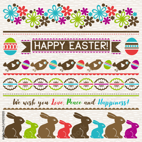 Easter greetings cards with color easter eggs, flowers and rabbits.Ideal for printing onto fabric and paper or scrap booking, vector illustration - 142131820