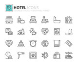 Fototapety Outline icons about hotel