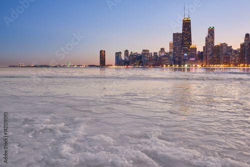Poster Chicago Winter view of Chicago skyline