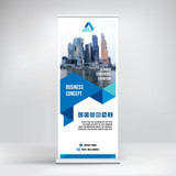 Fototapety Banner roll-up design, business concept. Graphic template roll-up for 