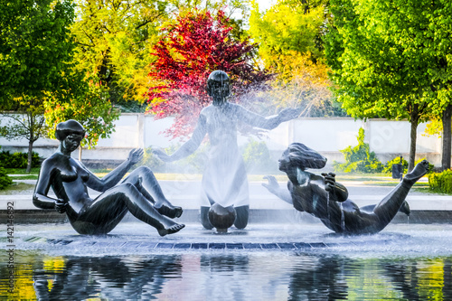 Poster Fountain in Presidential palace (Prezidentsky palac)  young girls sculpture, Bra