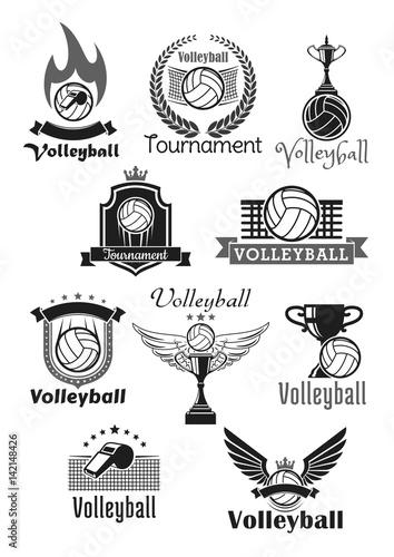 Fototapeta Volleyball tournament sport club vector icons set