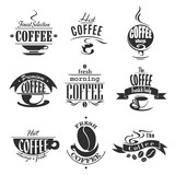 Cafe or coffeeshop icons of coffee cups and beans