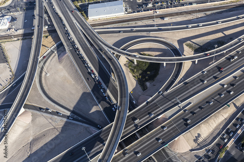 Aerial view of routes 15 and 95 freeway interchange ramps in downtown Las Vegas, Nevada Poster