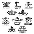 Barber shop beard, mustaches scissors vector icons